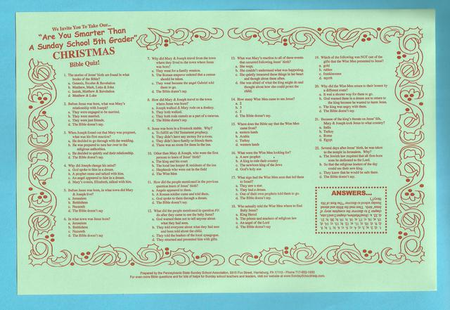 ... In Red Ink On Heavyweight Green Paper. Each Placemat Contains 22  Different Bible Trivia Questions Related To Christmas. The Placemats Come  In Packs Of ...